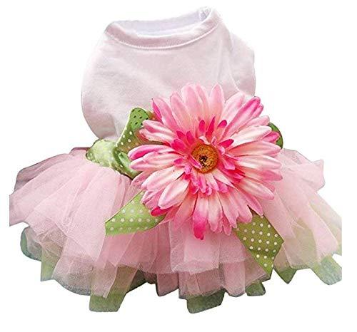 Für Hunde Kostüm Daisy - Hawkimin Pullover Bulldogge Haustier Hund Bowknot Daisy Blume Gaze Tutu Kleid Prinzessin Kleidung Haustier Kleiner Hund