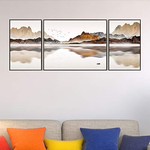 WSNDG Moderne minimalistische Neue Chinesische Landschaft Sofa Hintergrund Wand Wohnzimmer büro dekorative malerei triptychon ohne bilderrahmen B Abschnitt 40/80/40 * 60 cm