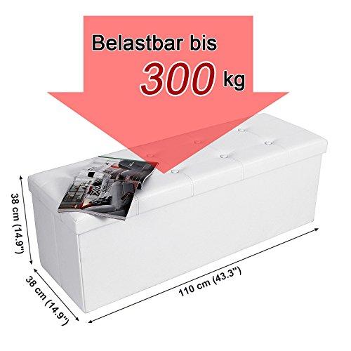Songmics 110 x 38 x 38 cm Baúl Puff Taburete para almacenaje Plegable Carga máxima de 300 kg Blanco LSF702
