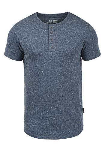 !Solid Thai Herren T-Shirt Kurzarm Shirt Mit Grandad-Ausschnitt, Größe:L, Farbe:Insignia Blue (1991) -