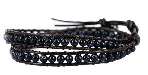 """Blueyes Collection """"Sparkling Blue"""" 2bandages, Bleu Sable Pierre précieuse Perle Bracelet en cuir véritable, 4mm/Perle"""