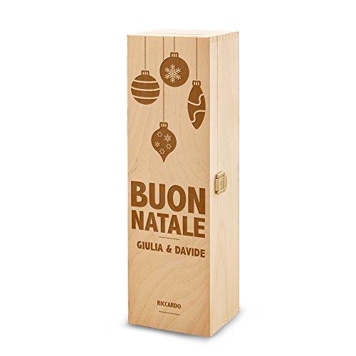 Scatola portabottiglie - In legno - Confezione per bottiglie di vino - Con incisione personalizzata - Inciso con [Nomi] - Buon Natale - Palle di Natale