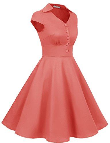 Gardenwed Damen Abendkleider Vintage Cocktailkleid 1950er Retro Sommer V-Ausschnitt Kleid Petticoat Faltenrock Coral
