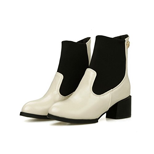 AgooLar Damen Gemischte Farbe PU Mittler Absatz Ziehen auf Spitz Zehe Stiefel, Cremefarben, 35