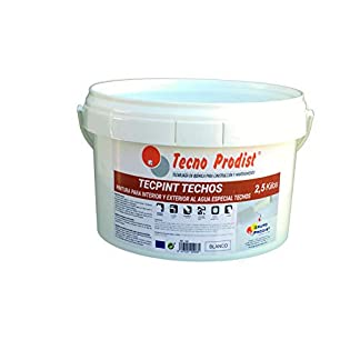 TECPINT TECHOS de Tecno Prodist – 2,5 Kg – Pintura para Exterior e Interior al Agua especial techos – Buena Calidad – Lavable – Fácil Aplicación – (BLANCO)