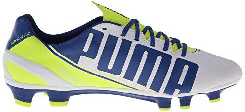 Puma Evo velocità 3.3 del terreno compatto Scarpe da calcio White/Snorkel Blue/Fluorescent Yellow