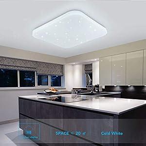 Deckenleuchte LED Badezimmer Küche Schlafzimmer Deckenleuchten Wohnzimmer Korridor Balkon Flur Bad Deckenlampe Kaltes Weiß 6000K Moderne Wasserdichte quadratische Lampe Decke 2050lm 26W LUSUNT