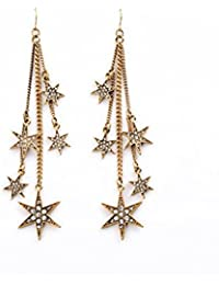 Glitz Retro Gold Resin Rhinestone Star Tassel Drop Earrings for Women