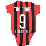 Body Neonato Personalizzato Rosso Nero Abbigliamento Ufficiale AC. Milan PS 12685 Personalizzato-9 Mesi