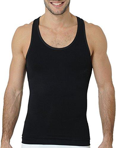 UnsichtBra Herren Shapewear Tank Top | Body Shape Bauch Weg Shirt | Figurformende Wäsche | Unterhemd weiß o. schwarz (sw_7101) (XL, Schwarz)