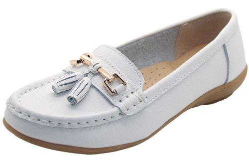 Scarpe da lavoro per donna, in pelle con tacco basso, casual, comode, scorrevoli, Bianco (White), 40