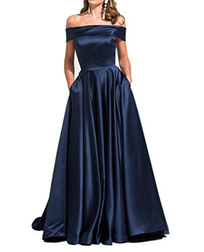 Milano Bride 2017 Neu Navy Blau Edel Satin Abendkleider Partykleider Brautjungfernkleider Lang A-linie Rock -44-Navy Blau