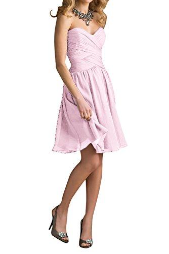 Gorgeous Bride Modisch Herzform Chiffon A-Linie Knielang Brautjungfernkleid Cocktailkleid Partykleid Rosa