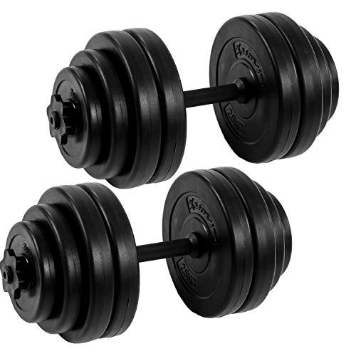 MOVIT® Kurzhantel 2er Set, Varianten 20kg, 30kg, 40kg, Stangen gerändelt mit Sternverschlüssen