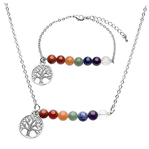 JOVIVI Schmuck, 7 Chakras Multi-Design Anhänger Halskette + Reiki-Energietherapie 7-Steine Armband Schmuck-Set(Lebensbaum)
