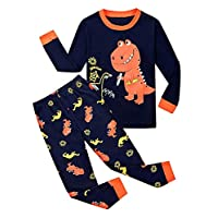 BABSUE Little Boys Pyjamas Set Dinosaur Toddler Kids PJS Sets Christmas Long Sleeve Nightwear Cotton Clothes 2 PCS Sleepwear Age 1-7 Years