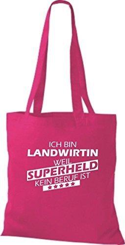 Shirtstown Stoffbeutel Ich bin Landwirtin, weil Superheld kein Beruf ist pink