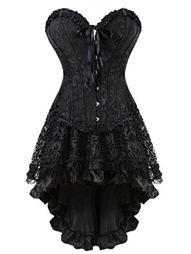 Lace Trim Bustier (BSLINGERIE® Gothic Lace Trim Corsage Korsett-Kleid Kleid Corsagen (M, Blumen-Schwarz))