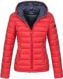 Marikoo Damen Jacke Steppjacke Übergangsjacke gesteppt B651 [B651-Luc-Rot-Gr.L]