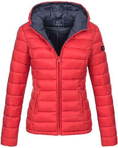 Marikoo Damen Jacke Steppjacke Übergangsjacke gesteppt B651 [B651-Luc-Rot-Gr.S]