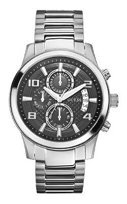 Guess Guess - Reloj de cuarzo para hombre, correa de acero inoxidable color plateado