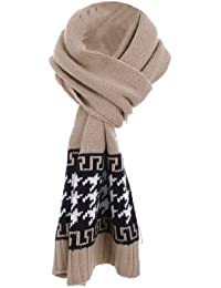 Ladies Chic Houndstooths Pattern Colorblock Soft Knitted Scarf