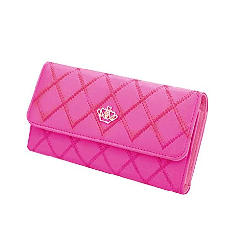 Miaomiao Lattice Grids modello PU borsa portafoglio borsa borse donna borsa lunga Prugna rossa