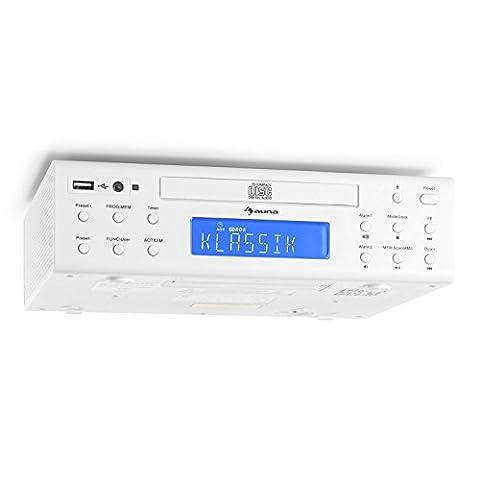 auna KRCD-150 • Küchenradio • Unterbauradio • UKW-Radio • RDS • 32 Senderspeicherplätze • automatischer und manueller Sendersuchlauf • MP3-fähiger USB-Port • CD-Player • AUX • Dual-Alarm • Eieruhr • Stereo-Lautsprecher • Fernbedienung • weiß