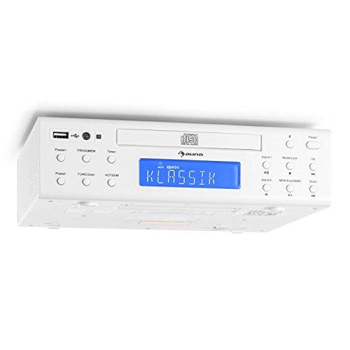 auna KRCD-150 • Radio da cucina • Radio FM • RDS • 32 stazioni • Porta USB compatibile con MP3 • Lettore CD • AUX • Allarme doppio • Orologio uovo • Altoparlanti stereo • Telecomando • bianco
