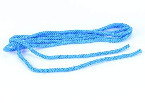 trendmarkt24 Springseil blau Hüpfseil 3m lang Ø 0,8 cm breit Sport-Seil geflochten für Fitness Spring Übungen ohne Griffe Indoor Seilspringen für Kinder ab +3 Jahre | 8578361100-A