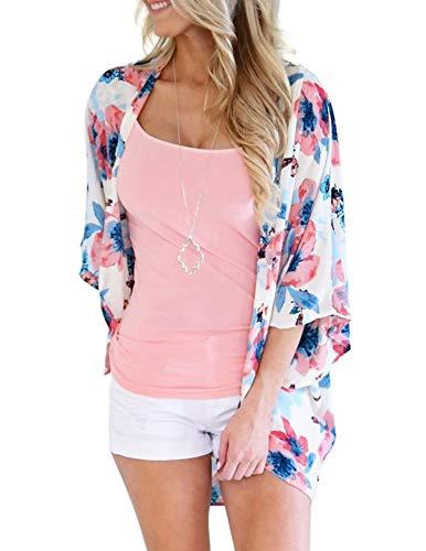 Zexxxy Damen Chiffon Kimono Cardigan Blumenprint 3/4 Arm Sommer Cover up Leichte Jacke Strand Weiß, L Chiffon Drop