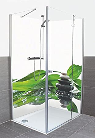 artland dusche bad rckwand wandverkleidung aus aluminium verbund platte motiv kayame spa mit steinen und ein zweig des grnen bambus wellness zen stein - Aluminium Ruckwand Dusche 2