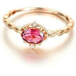 Gnzoe 18K (750) Oro Mujeres Anillo de Diamante Anillo Solitario Anillos de Compromiso Corona Flores Rose Oro con Rojo 0.5ct Diamante Tamaño 9,5