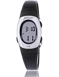 Reloj electrónico digital de múltiples funciones de los ni?os,Gelatina 50 m resina resistente al agua alarma cronómetro chicas o chicos peque?os simple moda retro reloj de pulsera-I