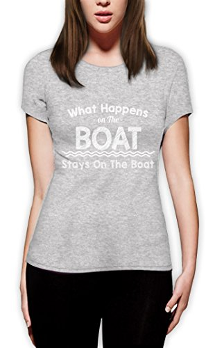 What Happens On The Boat Stays On The Boat Frauen T-Shirt Grau