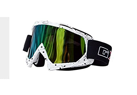 JOLIN Lunettes de protection cyclisme Moto Cross Scooter Ski Snowboard Goggles Glasses Eyewear (White frame,tinted lens)