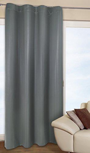 Moderne doux verdunkelungsgardine faisant double rideau thermique-rideaux gris sHADOWS lINE/gris avec bande ruban fronceur universel-effet élégant-deux tailles jusqu'à xXL-au choix ou largeur : 135 cm 270 cm de large-opaque-super-isolant en hiver et rafraîchi en été certifié sans polluants-disponible également en noir, Polyester, noir, 135 cm breit x 245 cm hoch