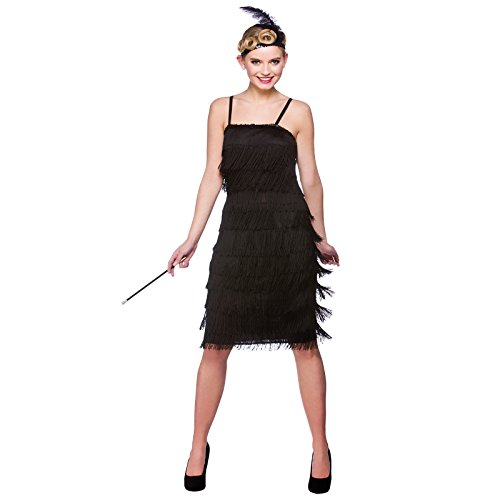 Black Jazzy Flapper Adult Fancy Dress 1920s Showtime Flapper (Roaring Kostüm Flapper Twenties)