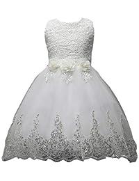 Juleya Vestito Principessa Ragazza Gonna a Fiori in Pizzo Senza Maniche  Vestito da Principessa delle Feste Bambine Vestito Elegante… b954e1ab94e