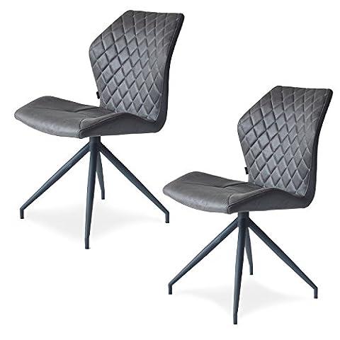Rocky Esszimmerstühle 2er set   Design Stuhl mit Stoffbezug   Stone dunkelgrau (Stone) (Stoffbezug Für Stühle)