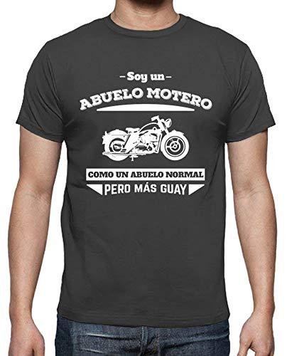latostadora - Camiseta Abuelo Motero, como un para Hombre Gris ratón L