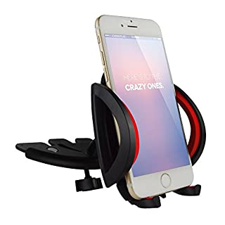 Alxcio Universal 360 Degree CD Slot Car Mount Holder Cradle for iPhone 6S Plus 5SE, Samsung Galaxy S7 edge Note 5, HTC, Motorola, Sony and GPS Devices