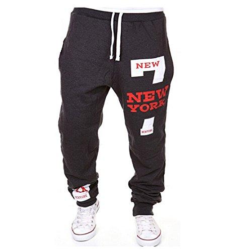 Uomini pantaloni della tuta NEW York Numero 7 Sport Pantaloni felpati Fitness Pantaloni Pantaloni sportivi Pantaloni da allenamento, Grigio Scuro L