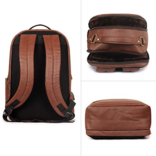 The Clownfish Victor 27 liters Vegan Leather Mature Unisex Laptop Backpack for 14 inch Laptop (Amber) Image 4