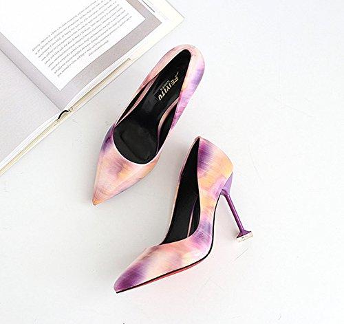 Aisun Damen Sexy Lack Kunstleder Spitz Zehen Mehrfarbig Low Top Stiletto High Heels Pumps Violett