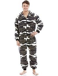 Pijama de una Pieza para Hombre - Forro Polar Suave - con Capucha y Cremallera Frontal - Estampado de Camuflaje de Nieve