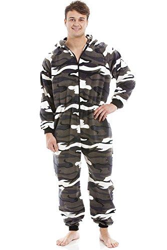 Herren Schlafanzug-Overall mit Kapuze - Reißverschluss vorne - weiches Fleece-Material - Schneetarn XXL (Kapuze-fleece Reißverschluss Vorne-mit)