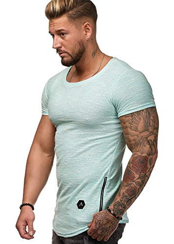 OneRedox Herren Shirt Hoodie Longsleeve Kurzarm Shirt Sweatshirt T-Shirt W25 Mint XXL