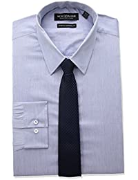Nick Graham Men's Modern Fitted Chambray Stretch Shirt With Hounsetooth Tie
