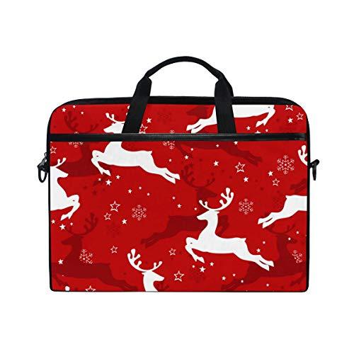Ahomy Multifunktionale Laptoptasche/Aktentasche, mit rotem Hintergrund und Schneeflocken